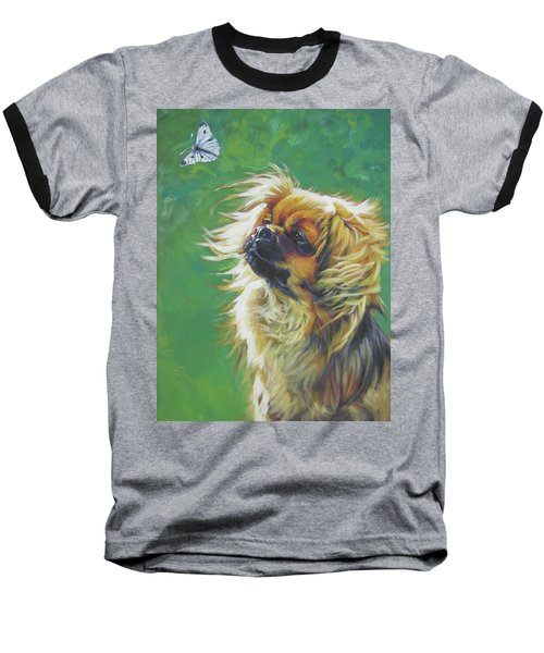 Tibetan Spaniel And Cabbage White Butterfly Baseball T-Shirt by Lee Ann Shepard