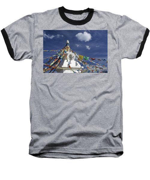 Tibetan Stupa With Prayer Flags Baseball T-Shirt