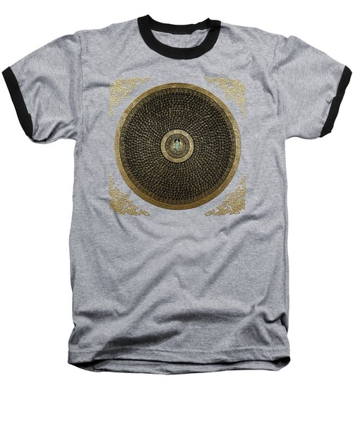 Tibetan Thangka - Green Tara Goddess Mandala With Mantra In Gold On Black Baseball T-Shirt