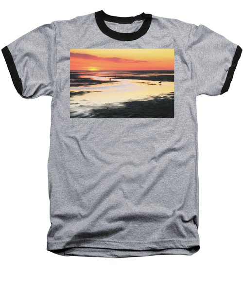 Tidal Flats At Sunset Baseball T-Shirt