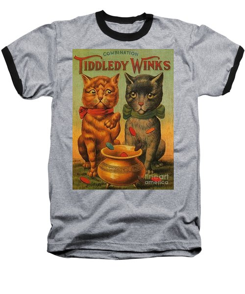 Tiddledy Winks Funny Victorian Cats Baseball T-Shirt by Peter Gumaer Ogden Collection