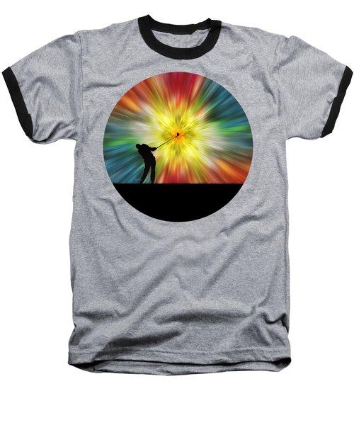Tie Dye Silhouette Golfer Baseball T-Shirt