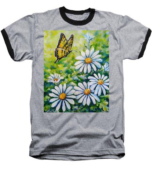 Tiger And Daisies  Baseball T-Shirt
