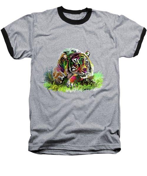 Colorful Tiger Baseball T-Shirt by Anthony Mwangi