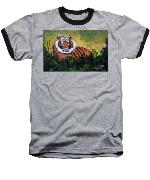Baseball T-Shirt featuring the painting Tiger At Rest by Myrna Walsh
