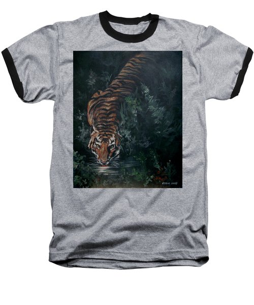 Baseball T-Shirt featuring the painting Tiger by Bryan Bustard