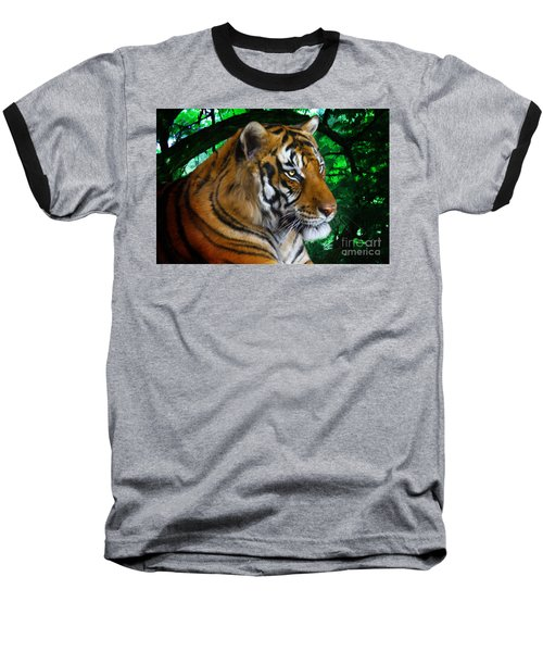 Tiger Contemplation Baseball T-Shirt