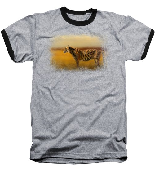 Tiger In The Golden Field Baseball T-Shirt by Jai Johnson