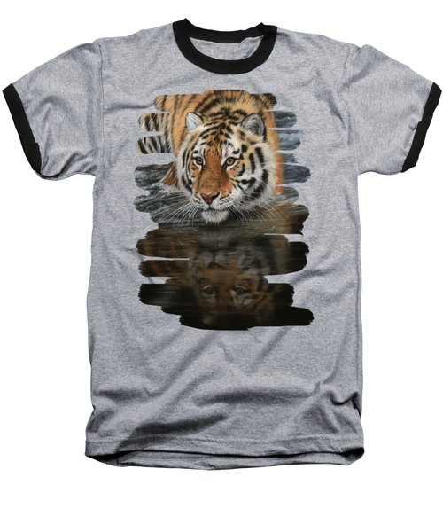 Tiger In Water Baseball T-Shirt