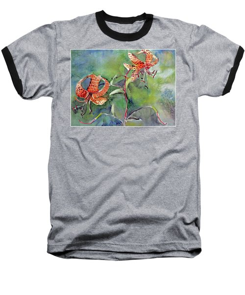 Baseball T-Shirt featuring the painting Tiger Lilies by Mindy Newman