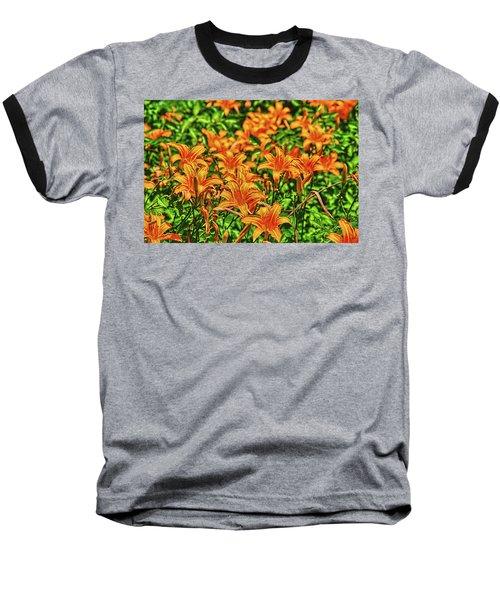 Tiger Lilies Baseball T-Shirt by Pat Cook