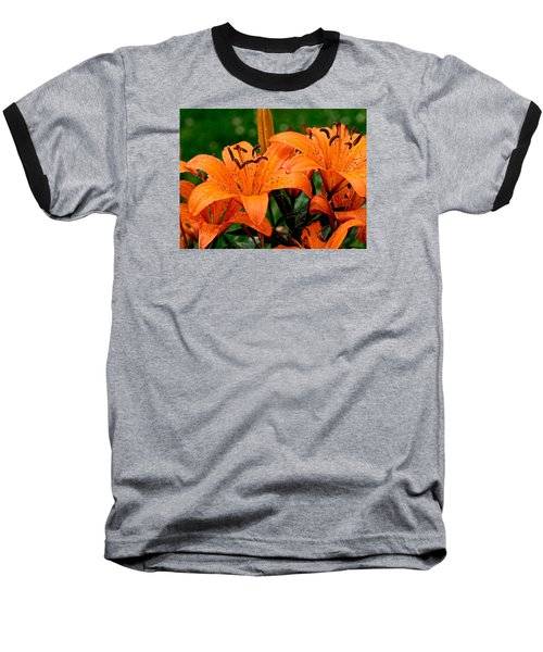 Tiger Lilies With Spring Shower Baseball T-Shirt
