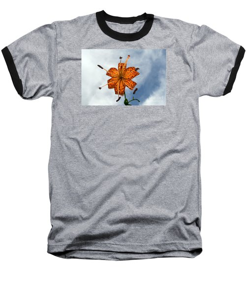 Tiger Lily In A Shower Baseball T-Shirt by Kevin Fortier