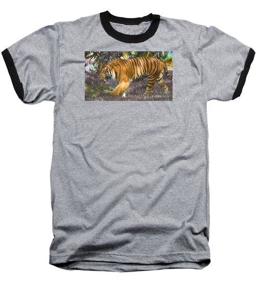 Baseball T-Shirt featuring the painting Tiger On The Prowl by Judy Kay