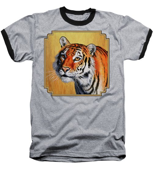 Tiger Portrait Baseball T-Shirt by Crista Forest