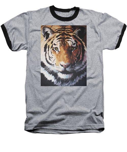Tiger Portrait Baseball T-Shirt by Vivien Rhyan