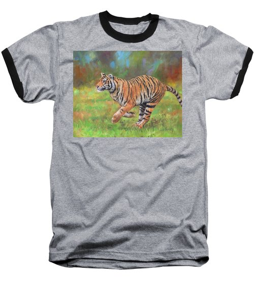 Baseball T-Shirt featuring the painting Tiger Running by David Stribbling