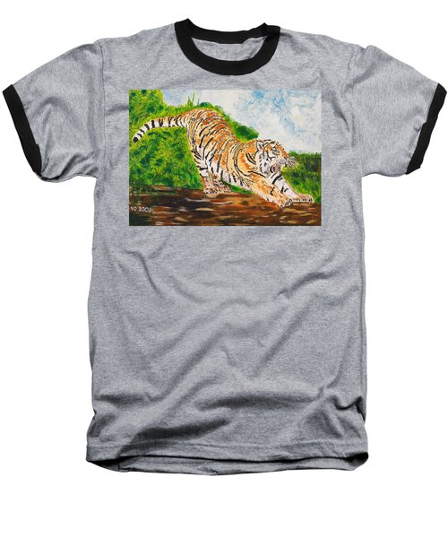 Tiger Stretching Baseball T-Shirt