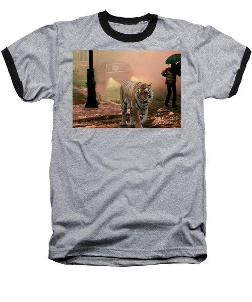 Tiger Walking Down A Snow Slushy Street Baseball T-Shirt by Wernher Krutein