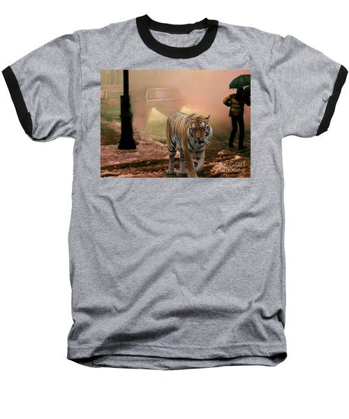 Tiger Walking Down A Snow Slushy Street Baseball T-Shirt