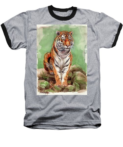 Baseball T-Shirt featuring the painting Tiger Watercolor Sketch by Margaret Stockdale