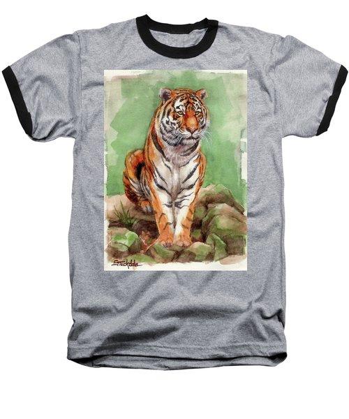 Tiger Watercolor Sketch Baseball T-Shirt