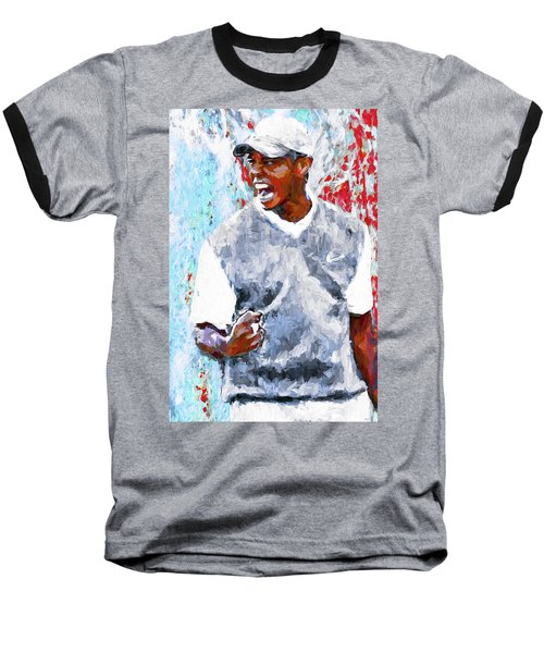 Tiger Woods One Two Red Painting Digital Baseball T-Shirt by David Haskett