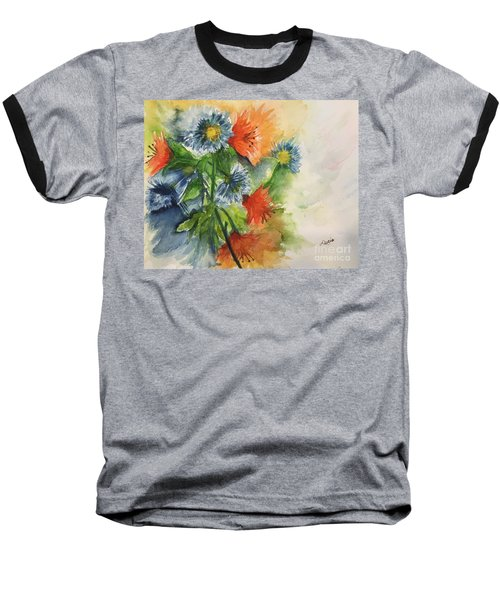 Baseball T-Shirt featuring the painting Tigerlilies And Cornflowers by Lucia Grilletto