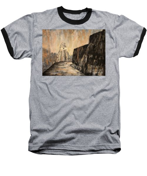 Baseball T-Shirt featuring the painting Tikal Ruins- Guatemala by Ryan Fox