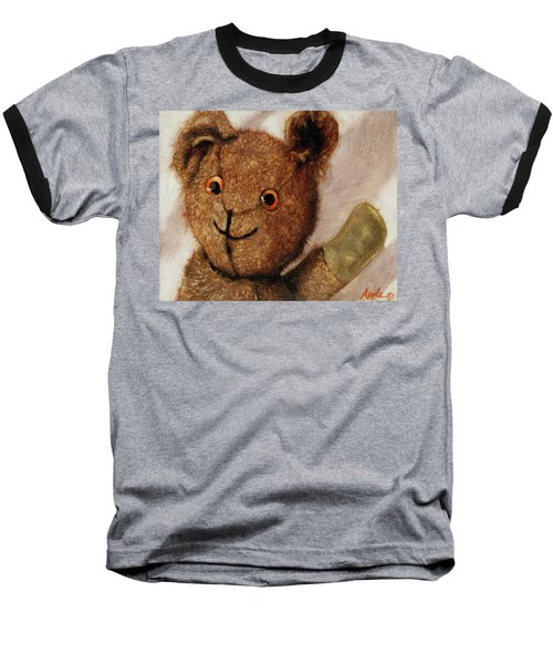 Tillie - Vintage Bear Painting Baseball T-Shirt by Linda Apple
