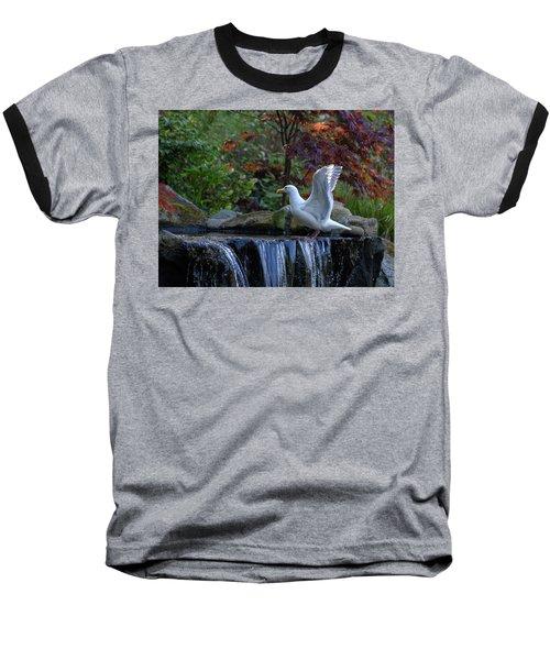 Time For A Bird Bath Baseball T-Shirt by Keith Boone