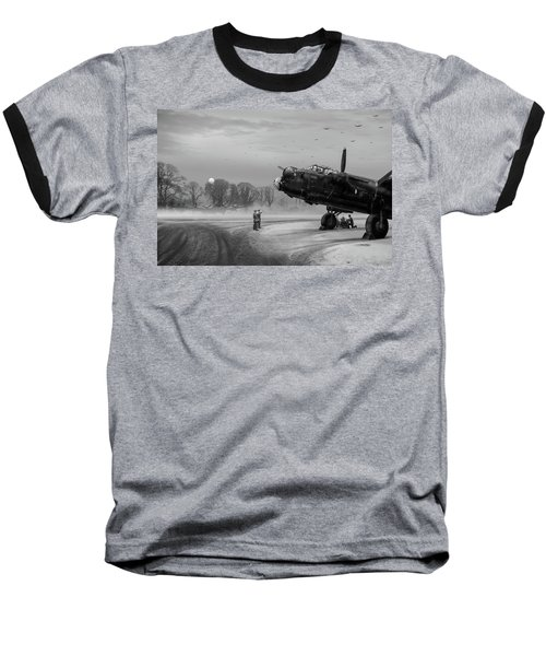 Baseball T-Shirt featuring the photograph Time To Go - Lancasters On Dispersal Bw Version by Gary Eason
