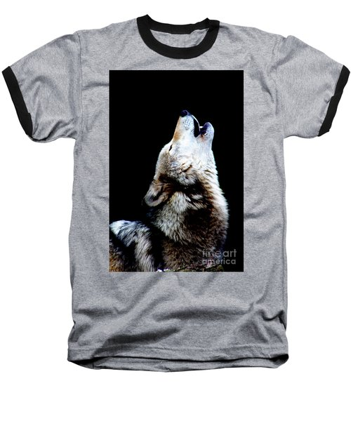 Time To Howl Baseball T-Shirt by Nick Gustafson