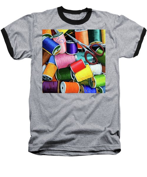 Baseball T-Shirt featuring the painting Time To Sew - Colorful Threads by Linda Apple