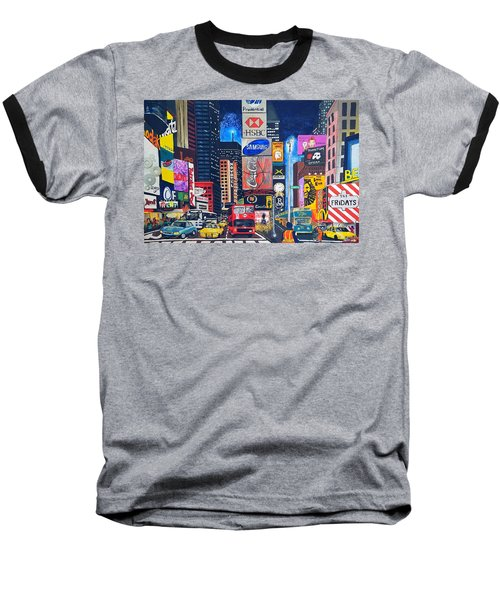 Times Square Baseball T-Shirt by Autumn Leaves Art