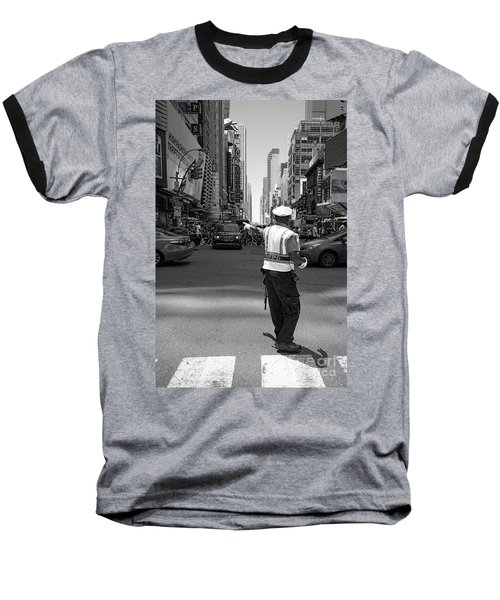 Times Square, New York City  -27854-bw Baseball T-Shirt by John Bald