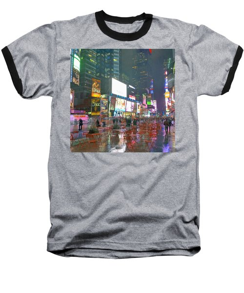 Times Square Red Rain Baseball T-Shirt