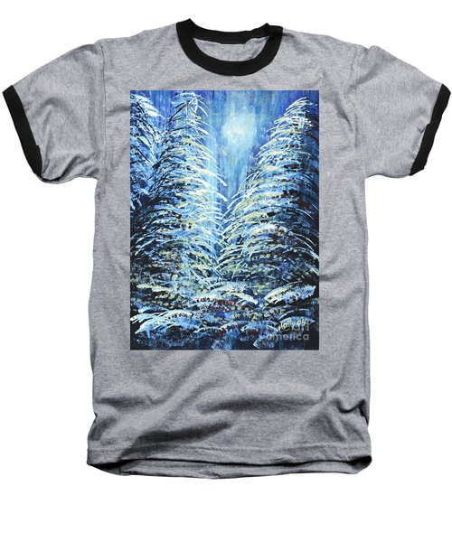 Baseball T-Shirt featuring the painting Tim's Winter Forest by Holly Carmichael