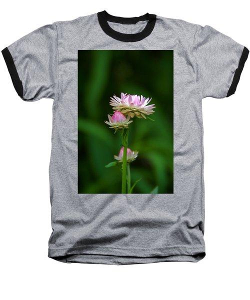 Baseball T-Shirt featuring the photograph Tiny Dahlias Green Aura by Byron Varvarigos