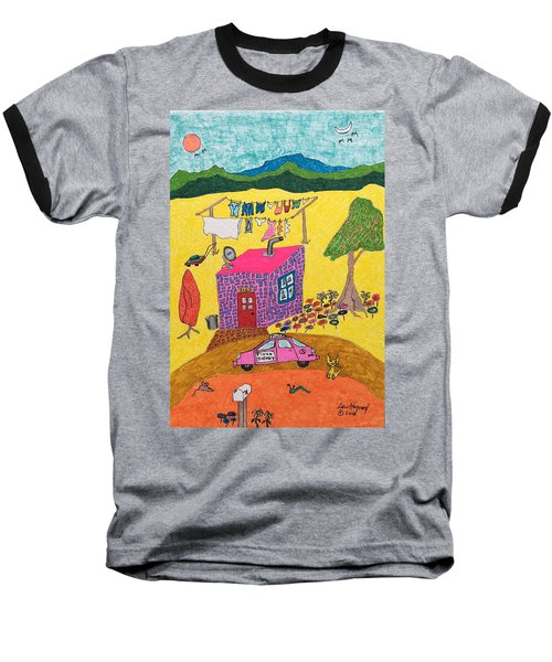 Tiny House With Clothesline Baseball T-Shirt