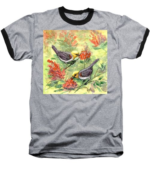 Baseball T-Shirt featuring the painting Tiny Verdin In Honeysuckle by Marilyn Smith