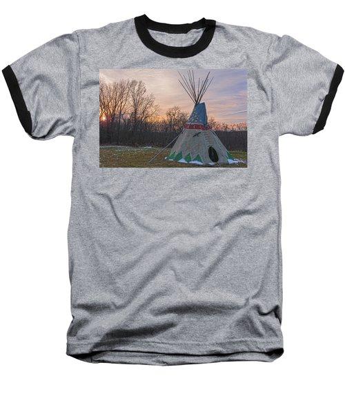 Tipi Sunset Baseball T-Shirt by Angelo Marcialis