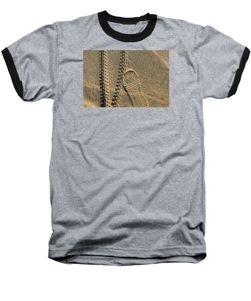 Tire And Sneaker Tracks Baseball T-Shirt by Lyle Crump
