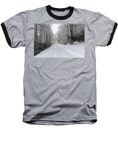 Tire Tracks In Fresh Snow Baseball T-Shirt