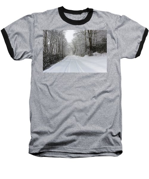 Tire Tracks In Fresh Snow Baseball T-Shirt
