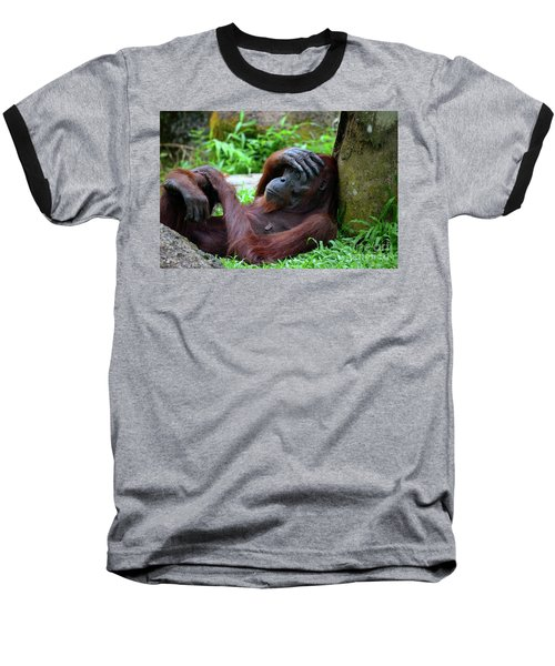 Tired Female Orangutan Ape Rests Against Tree With Hand On Her Head Baseball T-Shirt
