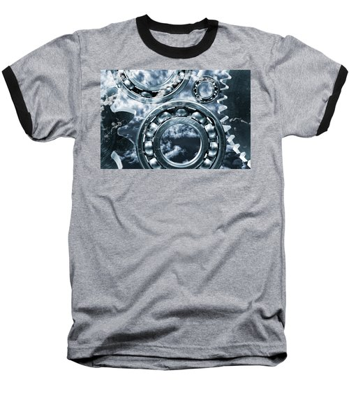 Titanium Gears Against Storm Clouds Baseball T-Shirt