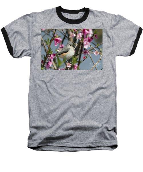 Titmouse And Peach Blossoms Baseball T-Shirt