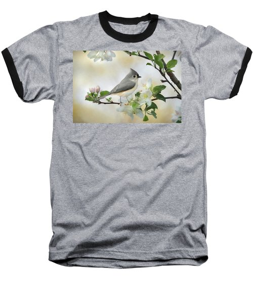 Baseball T-Shirt featuring the mixed media Titmouse In Blossoms 1 by Lori Deiter