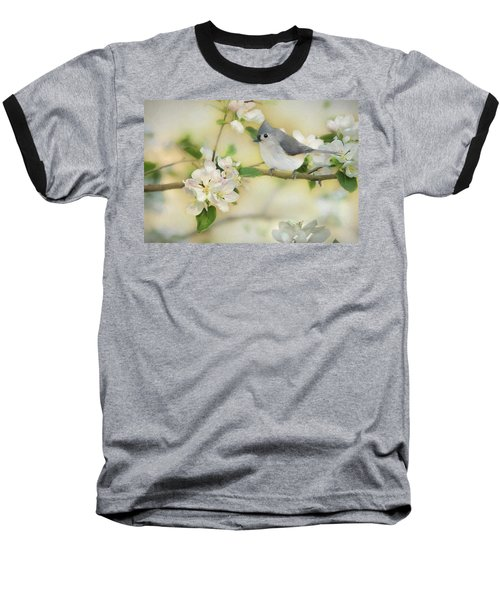 Baseball T-Shirt featuring the mixed media Titmouse In Blossoms 2 by Lori Deiter